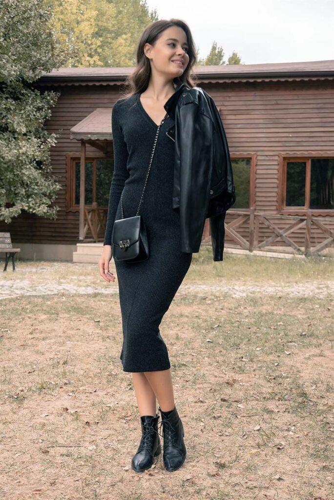 siyah triko elbise kombini